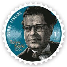 Toivo Kärki 100 v. (2015) Banknote, Postage Stamps, Finland, Postcards, Badge, Coins, Portraits, Movie Posters, Seals