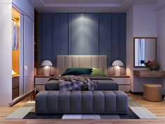 This room is masculine yet comfortable - with plush finishes and cool colors, this master retreat is a great place to kick back and relax.