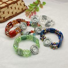 Pretty Watch Bracelets, with Alloy Watch Head, Acrylic Beads and Glass Beads, Mixed Style, Mixed Color, 54mm