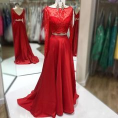 Two piece red long sleeves prom dress evening dress