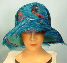 "1950's CHRISTIAN DIOR Peacock Blue Feather Hat! This is a fabulous vintage hat has both the original ""Christian Dior, Chapeaux, Paris - New York"" and ""Saks Fifth Avenue"" tags."