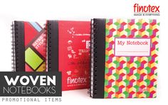Promotional Items Woven Notebooks with spring inspired colors and patterns!  Productos Promocionales Cuadernos Tejidos con sus colores y diseños inspirados en la primavera!   #Woven #Notebook #Colorful #Design #BrandIdentity #Finotex