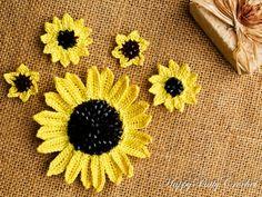 Crochet Sunflower  Mixed Sizes Crochet by HappyPattyCrochet