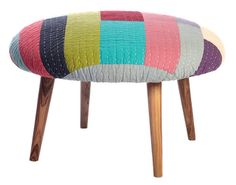 modern patchwork,sewing, design, decorating,design trend,stool, ottoman, mid-century modern,