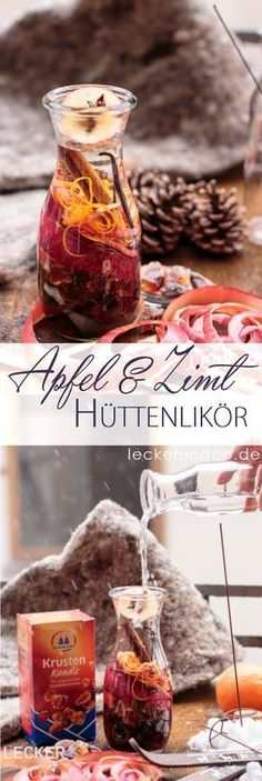 Cottage liqueur with apple and cinnamon- Hüttenlikör mit Apfel und Zimt Cottage liqueur with apple and cinnamon - Healthy Eating Tips, Healthy Snacks, Smoothie Recipes, Snack Recipes, Protein Smoothies, Drink Recipes, Sugar Candy, Vegetable Drinks, Food Blogs