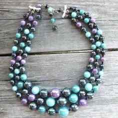 Vintage LAVENDER Purple & AQUA Blue by SellitAgainVintage on Etsy, $18.00