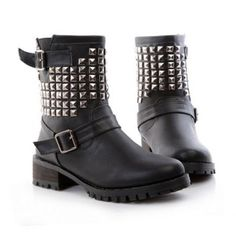 $25.17 Vintage Casual PU Leather Buckle and Buckle Design Women's Combat Boots