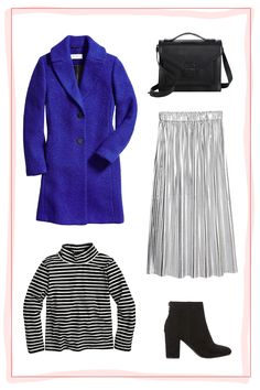 Date NightUnfortunately, not all winter date nights can take place on the couch. On those freezing-cold evenings when you and your S.O. venture out on the town, try a pleated silver skirt, a striped turtleneck, and a standout coat for a pop of color.Loeffler Randall bag, H