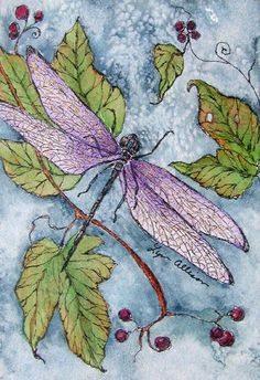 mixed media art dragonfly