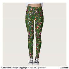 """A new Christmas design by Lynn Johnston:  """"Christmas Frenzy"""" Leggings — Full colour on green"""