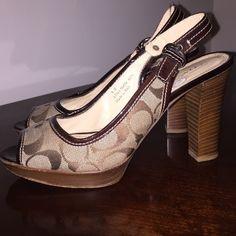 Coach Heels Coach Monogram Peeptoe Sandals, OFFERS WELCOME!!!! ✨✨ Coach Shoes Heels