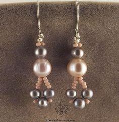 Pink and silver pearl earrings E914 by Fleur-de-Irk.deviantart.com