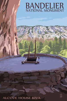 Bandelier National Monument, New Mexico - Alcove House Kiva - Lantern Press Artwork