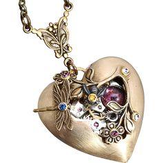 Heart Necklace Steampunk Heart Necklace Steampunk Necklace Steampunk Heart, Steampunk Necklace, Metal Jewelry, Jewlery, Punk Goth, Ruby Lane, Steampunk Fashion, Steam Punk, Anklets
