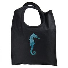Blue Crystal Embellished Seahorse Canvas Beach Tote : Available at SHOPBLUEHORSE.COM #beach #tote #seahorse