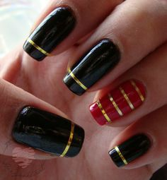 NOTD: Black & Red with Gold stripes all over | Hiiyooitscat Beauty Diaries