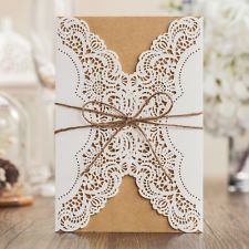 Rustic Wedding Invitations Card Laser Cut Wedding Invitation Card with Jute Ribbon Birthday Event Party Invitation Cards(China (Mainland)) Invitation Card Birthday, Kraft Wedding Invitations, Rustic Invitations, Wedding Favors, Diy Wedding Backdrop, Planners, Party Supplies, Seal Craft, Lace Wrap