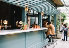 The Grounds Opens The Potting Shed : Plant yourself at The Grounds' new casual bar and eatery, right next door. Kiosk Design, Cafe Design, Küchen Design, Architecture Restaurant, Restaurant Design, Window Bars, Cafe Window, Pub Sheds, Bar Shed