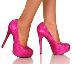 Glitter fuschia wedding shoes!