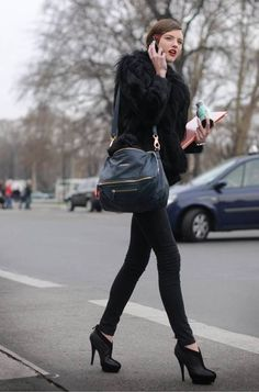black fur coat with black everything else <3 (skip out on the bag though no?)