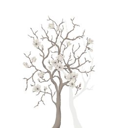 Magnolia Tree mural - Mr Perswall Murals - A stylised hand painted-effect, magnolia tree available in 4 colours – shown here in the grey against white. Total mural size wide and high - NOT AS STATED BELOW. Tree Wall Art, Tree Art, Urban Nature, Magnolia Trees, Paint Effects, Color Show, Wall Murals, Art Projects, Hand Painted