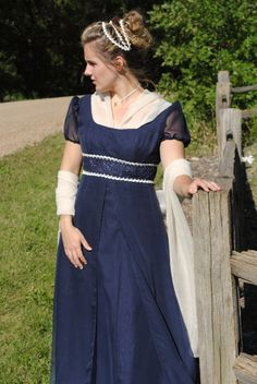 CUSTOM RESERVED Navy Regency Jane Austen Embroidered Gown Dress stole, fichu & headpiece