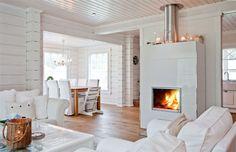 The fireplace again, in Kontio Kruunuhaka Helsinki Cabin Homes, Log Homes, Home Interior, Modern Interior, Cottage Design, House Design, White Fireplace, Wood Fireplace, Scandinavian Home