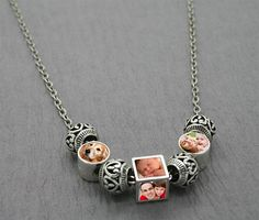 European Photo Bead Necklace W/ Ornate Silver Beads Kit