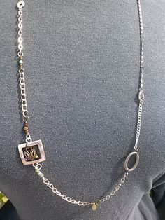 """Mixed silver chains with misc interesting links.  Designed for layering.  16""""  G335. $15.00"""