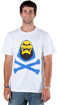 This Skeletor shirt features He-Man's enemy from the classic Masters Of The Universe cartoons and toys. This picture was taken from the opening to every show where Skeletor leans back and laughs.