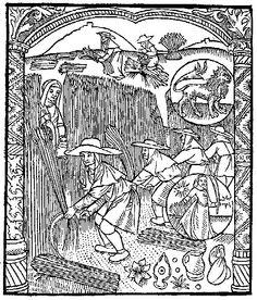 The month of August; harvesting grain. From the Compost et Kalendrier des Bergères, Paris 1499.