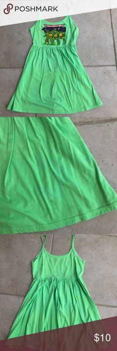🐢Teenage mutant ninja turtle dress. bright green teenage mutant ninja turtle summer dress! small stain on bottom right hand corner of the dress but barely noticeable. Make me an offer! ninja turtles Dresses Mini
