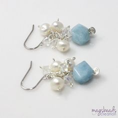 Aquamarine Earrings Cluster Pearl Earrings by magsbeadscreation