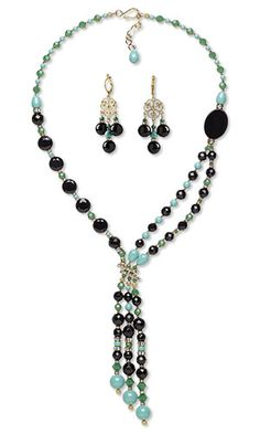 Double-Strand Necklace and Earring Set with Black Onyx Gemstone Beads, Swarovski Crystal and Gold-Finished Brass Drops