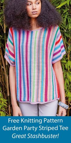 """Free knitting pattern striped pullover top knit sideways in one piece cuff to cuff in stockinette to create vertical stripes. Designed for 17 colors it's great for stashbusting and leftover yarn. Sizes 32-34 (36-38, 40-42, 44-46, 48-50)"""" 81-86 (91-97, 102-107, 112-117, 122-127) cm. Designed by Kaffe Fassett for Rowan Yarns. Worsted weight yarn. Sweater Knitting Patterns, Free Knitting, Crochet Patterns, Rowan Yarn, Yarn Sizes, Stockinette, Vertical Stripes, Striped Tee, Free Pattern"""