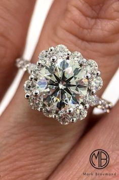 18 Unique And Beautiful Mark Broumand Engagement Rings ❤️ mark broumand engagement rings floral halo round cut pave band white gold diamond ❤️ See more: http://www.weddingforward.com/mark-broumand-engagement-rings/ #weddingforward #wedding #bride #weddingring