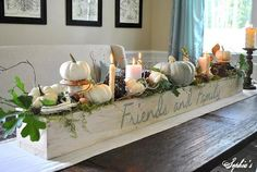 custom flower box with white pumpkin fal arrangement