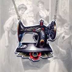 Vintage Sewing Machine Tattoo Style Pendant by MrCurtisDesigns, $12.50