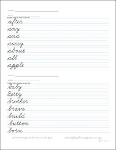 Donna Young's Cursive Handwriting Worksheets and Lessons. The sets on this page have the child practicing writing words in cursive. Cursive Handwriting Practice, Teaching Cursive, Cursive Words, Improve Your Handwriting, Handwriting Analysis, Handwriting Worksheets, Grammar Worksheets, Teaching Writing, Teaching Ideas