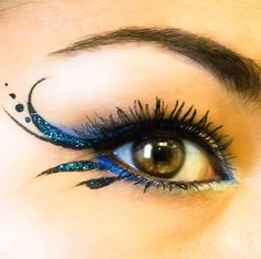 Cool Blue Winged Liner...Mermaid costume? Halloween---Eye makeup for Sierra's costume
