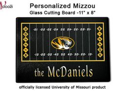 Mizzou Tigers Personalized Family Name Glass Cutting Board - Faurot Field Football $27