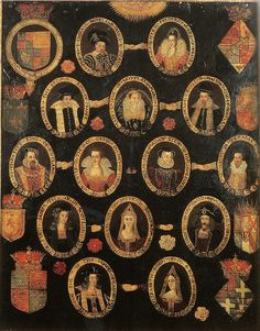 Family tree of Mary Queen of Scots, c.1603 | Top row – James… | Flickr
