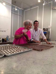 Paula Deen and Adam Turoni making chocolate magic at Chocolat by Adam Turoni on Broughton Street in Savannah, GA Savannah Georgia Homes, Savannah Chat, Making Chocolate, Good Neighbor, Paula Deen, Beverages, Magic, Street, Food
