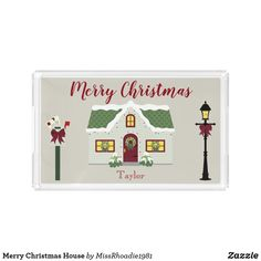"""Merry Christmas House Serving Tray  Situated on a lovely silver background perfect for winter, this Christmas themed serving tray features a light gray house with a red door and green roof.  Snow outlines the roof.  There is """"Merry Christmas"""" written in festive red font.  There is a light post to the right of the house and a mailbox to the left.  Your name is written strategically at the bottom.   #Christmas #christmasgifts #ad #MissRhoadie"""