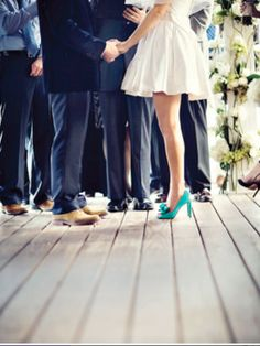 Love The Bright Shoes Also This Is A Very Short Wedding Dress