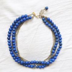 Kenneth Jay Lane Blue Bead & Gold Necklace Only worn a few times! Purchased it on Gilt.com. Kenneth Jay Lane Jewelry Necklaces