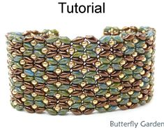 SuperDuo Beading Tutorial Pattern - Beaded Flower Bracelet - Simple Bead Patterns - Butterfly Garden #18058