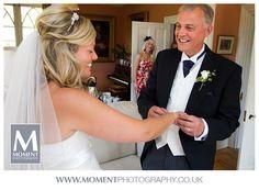 The bride with her Dad.  Adam & Helen's wedding at Gants Mill, Bruton, Somerset. www.gantsmill.co.uk