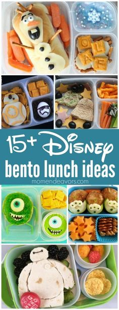 15 Disney Bento Lunch Ideas - adorable lunches inspired from Frozen, Star Wars, Monsters Inc, Toy Story, and more Disney favorites! Perfect for a creative back-to-school lunch surprise! Back To School Lunch Ideas, School Lunch Box, Creative School Lunches, Bento Box For Kids, Packed Lunch Ideas For Kids, Lunch Ideas For Toddlers, Bento Box Lunch For Kids, Kindergarten Lunch, Boite A Lunch