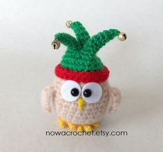 Owl in joker hat. 9 cm tall. Handmade by Tamara Nowack